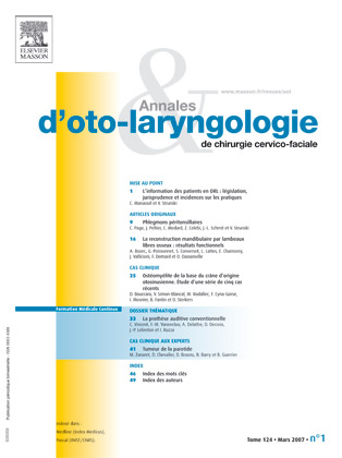 Annales d'orl et de pathologie cervico-faciale