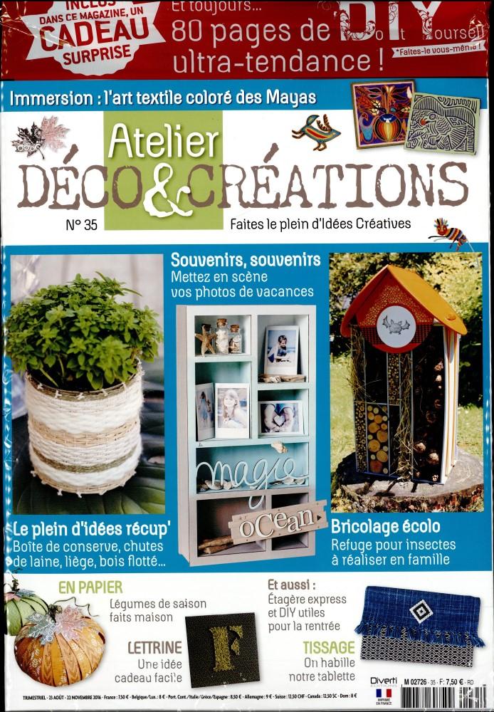 atelier d co et cr ations n 35 abonnement atelier d co et cr ations abonnement magazine par. Black Bedroom Furniture Sets. Home Design Ideas
