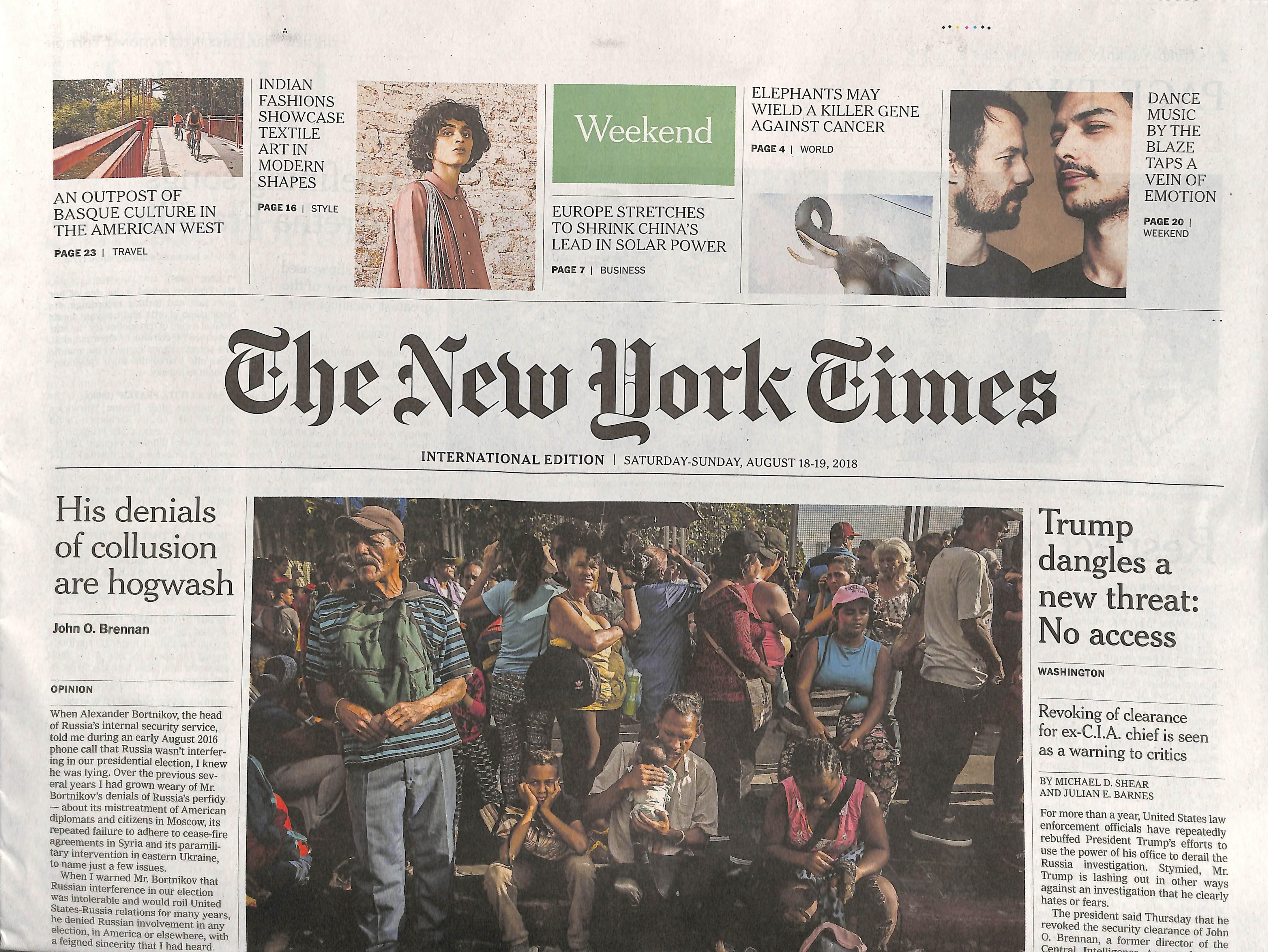 International New York Times N° 818 August 2018