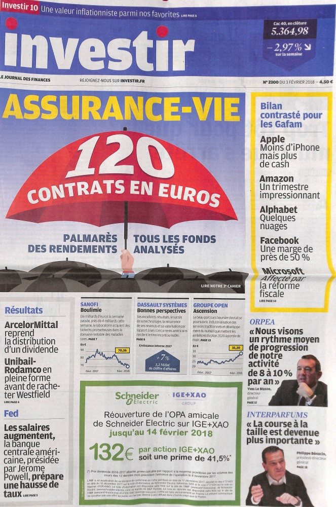 Investir - Le journal des finances N° 2298 Janvier 2018