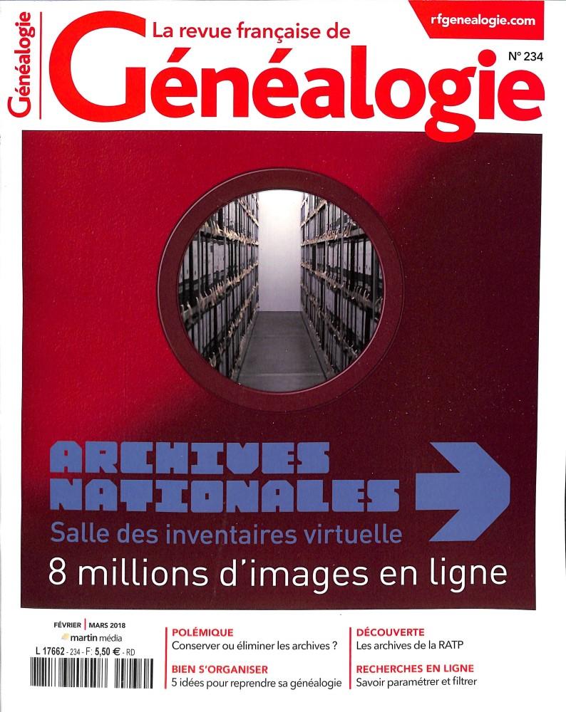 La Revue Française de Généalogie N° 234 January 2018