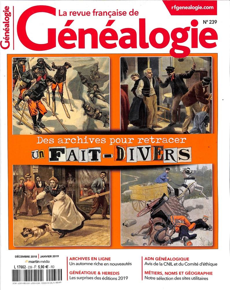 La Revue Française de Généalogie N° 239 November 2018